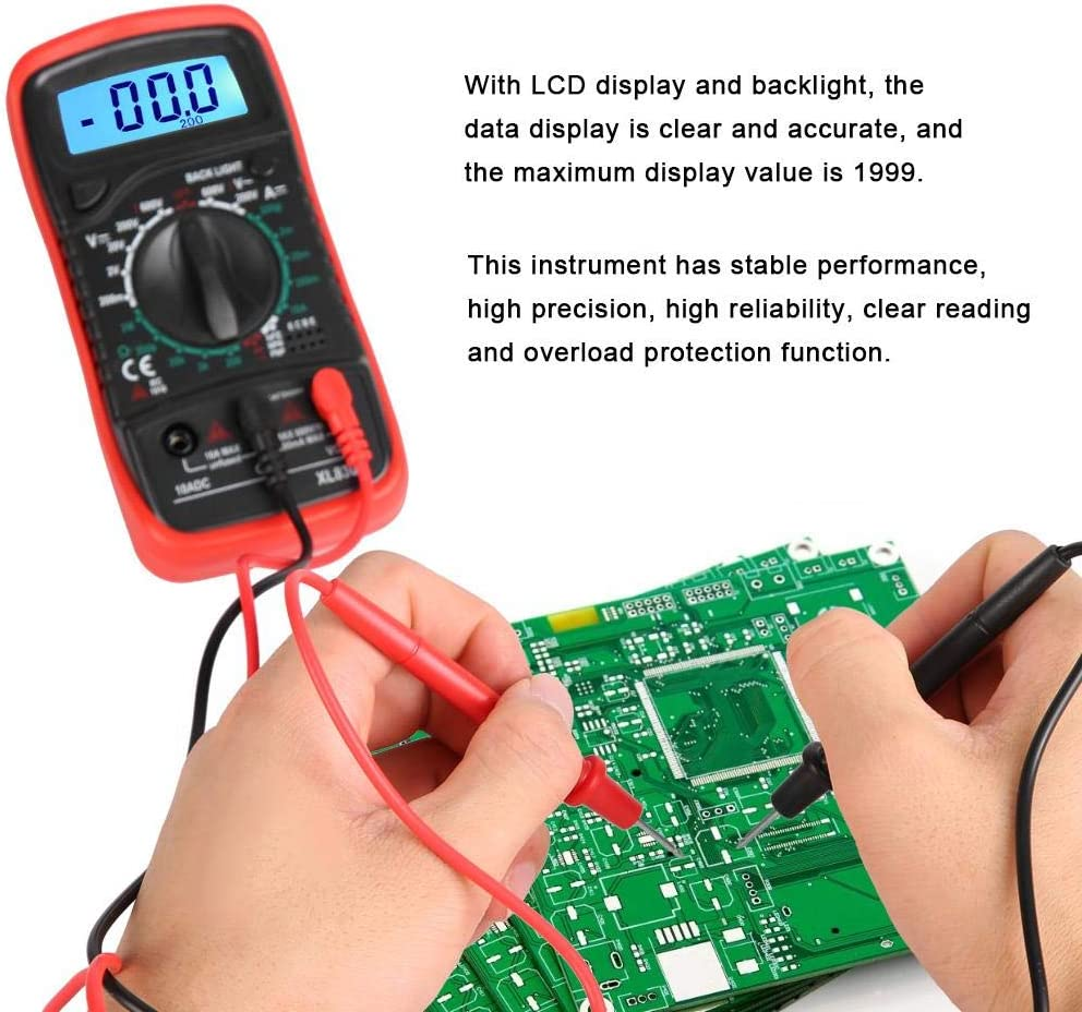 with LCD Display Digital Voltmeter XL830L for Laboratory Household Widely Use Factory Digital Multimeter XL830L red