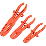Juvale 3 Pack Hose Clamp Pliers - Pinch Pliers - Line Clamps for Brake Hoses, Fuel Hoses, Gas Lines, Coolant Hoses, Radiator Hoses, Most Flexible Hoses, Red
