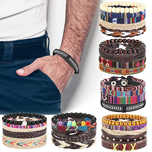 FIBO STEEL 28-30 Pcs Braided Leather Bracelets for Men Women Cool Hemp Tribal Wristbands Cuff Punk Bracelets (African Set Bracelet)