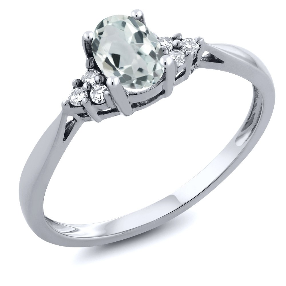 14K White Gold Sky Blue Aquamarine and Diamond Women's Ring 0.49 cttw, Available in size (5,6,7,8,9)