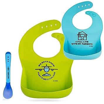 2 Pack Girl Silicone Plastic Waterproof Dishwasher Safe Baby Bib Food Catcher