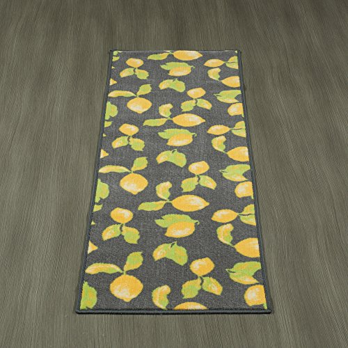 Ottomanson Lemon Collection Contemporary Grey Lemons Design Runner Rug with (Non-Slip) Kitchen and Bathroom Rugs, Grey, 20'' X 59'' by Ottomanson