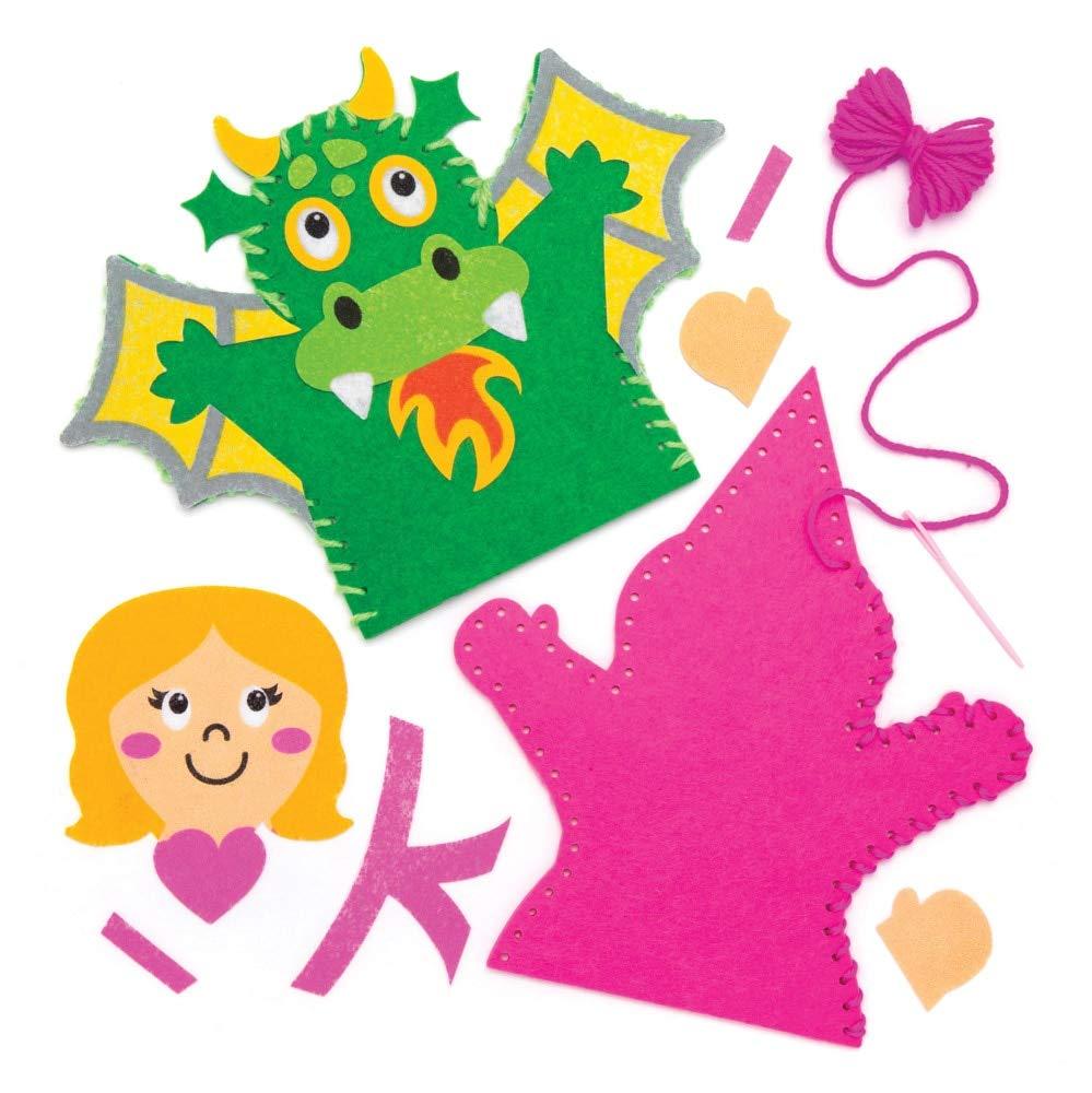 Baker Ross- Kits de Costura de Marionetas de Mano de Cuentos de Hadas (Pack de 4), Actividad de Manualidades Infantiles con Piezas de Fieltro para Coser