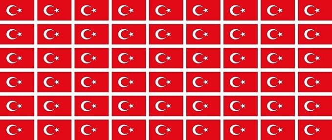 Mini Aufkleber Set Pack Glatt 20x12mm Sticker Türkei Flagge Banner Standarte Fürs Auto Büro Zu Hause Und Die Schule 54 Stück Bürobedarf Schreibwaren