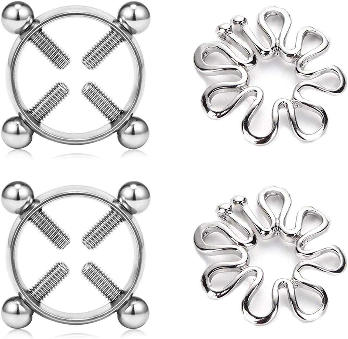 Adjustable Stainless Steel Faux Jewelry Screw Clip on Body Piercing Rings Nippl/é Clamps with Metal Chain for Party 55ghk