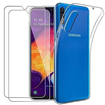 Meeter - Funda para Samsung Galaxy A50 + 2 Piezas Protectores de Pantalla in Cristal Templado, Carcasa Suave Delgado Claro Funda de Silicona TPU - ...