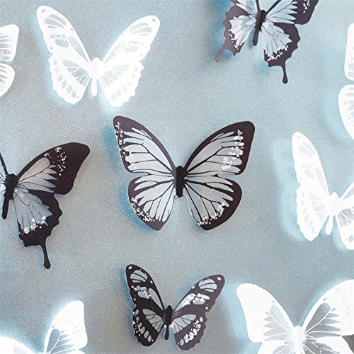 Black & White 18pcs DIY 3D Butterfly Wall Stickers Art Decal PVC Butterflies Home - Kissing French Girls Black