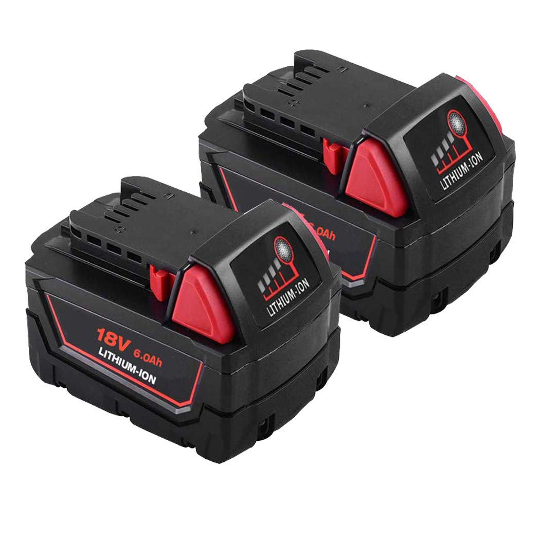 2 Pack M18 Battery for Milwaukee, 18V 6.0 Ah Li-ion Replacement Battery for Milwaukee 48-11-1820 48-11-1850 48-11-1860 48-11-1828 48-11-10 by SHGEEN