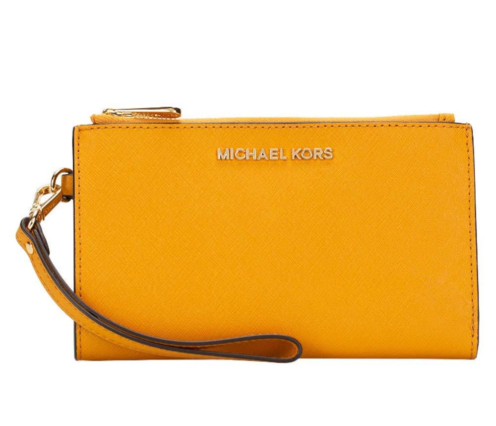 Michael Kors Large Jet Set Travel Phone Case Double Zip Leather Wristlet Wallet in Marigold (Marigold)