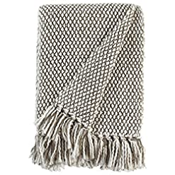 Bedroom Amazon Brand – Stone & Beam Modern Woven Farmhouse Throw Blanket, Soft and Cozy, 50″ x 60″, Brown and White farmhouse blankets and throws