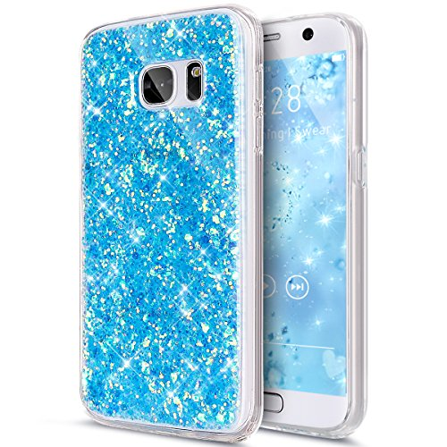 (Galaxy S7 Case,Galaxy S7 Cover,Galaxy S7 Bling Case,ikasus Luxury Sparkle 3D Bling Diamond Glitter Paillette Flexible Soft Rubber Gel TPU Protective Skin Bumper Silicone Case Cover for Galaxy S7,Blue)