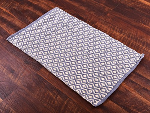 "Door Mat 2×3 ft Doormat Bathmat Kitchen Bedroom Living Room Handmade Bath Rug ( 24""x 36"") Gray  White Cotton Area Rug by MystiqueDecors"