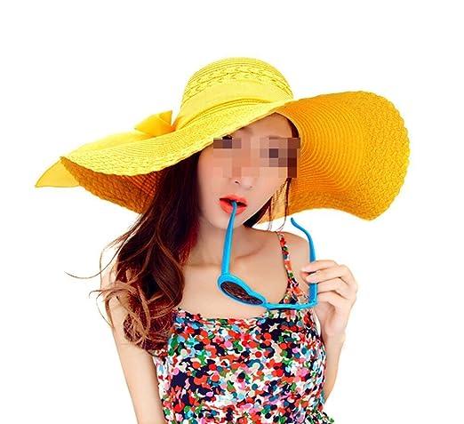 3 opinioni per TININNA Donne Giallo pieghevole Boemia Bowknot bordo largo del cappello del