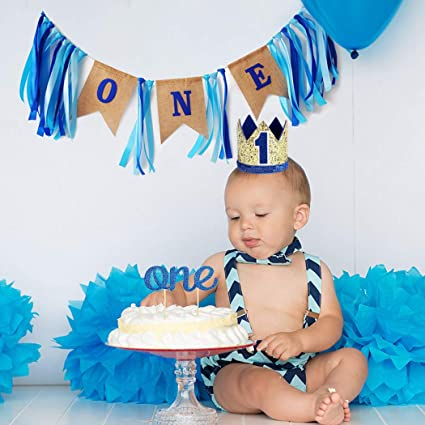 Beaumode Boys Blue First Birthday Party Set High Chair BannerCake TopperCrown For