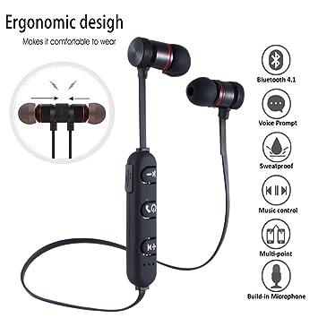 Miya System Ltd auriculares inalambricos,Auriculares magnéticos inalámbricos con micrófono Auriculares deportivos a prueba de