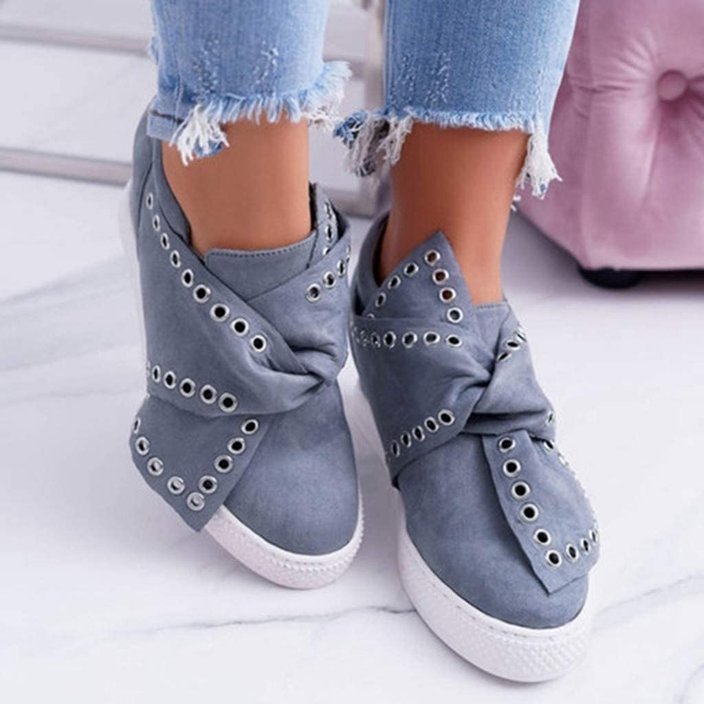 Womens Tie Slip On Ankle Shoes Walking Casual Fashion Hidden Wedge Shoes by Nevera Blue
