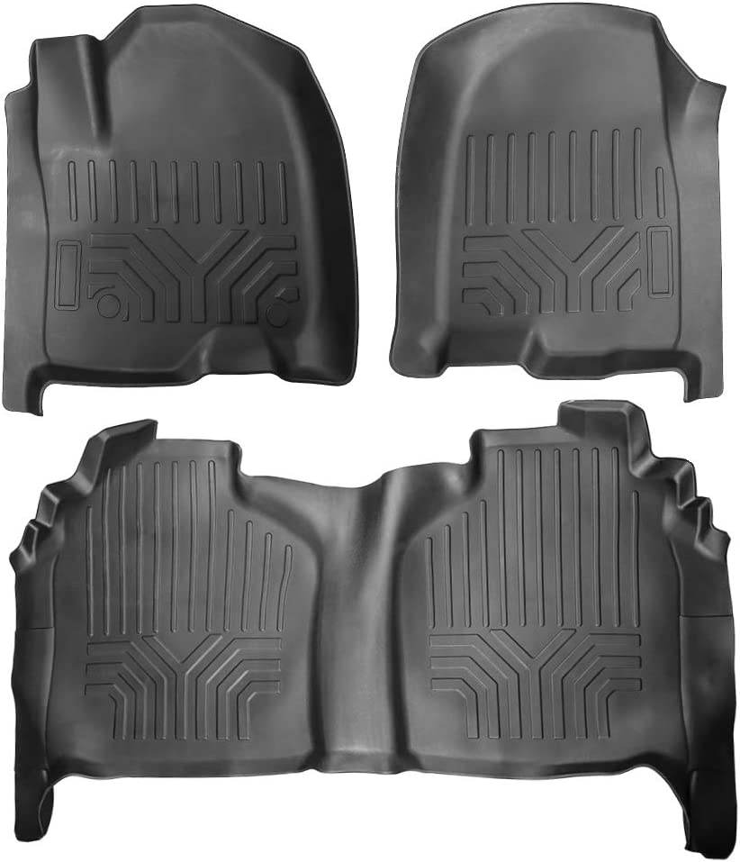 Cosilee Floor Mats Compatible for 2019 2020 Chevrolet Silverado//GMC Sierra 1500 Crew Cab Front /& 2nd Seat Floor Liners