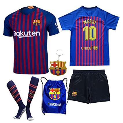 BARCA2018 Barcelona Messi Suarez Coutinho 2018 19 Kid Youth Replica Home Jersey  Kit   Shirt 15b56943d