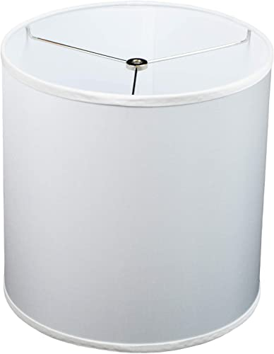 FenchelShades.com 12 Top Diameter x 12 Bottom Diameter 12 Height Cylinder Drum Lampshade USA Made Silk Dupioni Smooth White