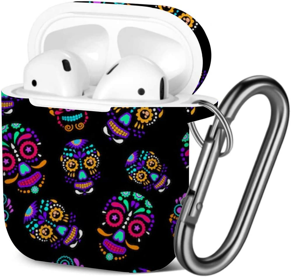 Shockproof Soft TPU Gel Case Cover with Keychain Carabiner for Apple AirPods Black Skulls Compatible with AirPods 2 and 1