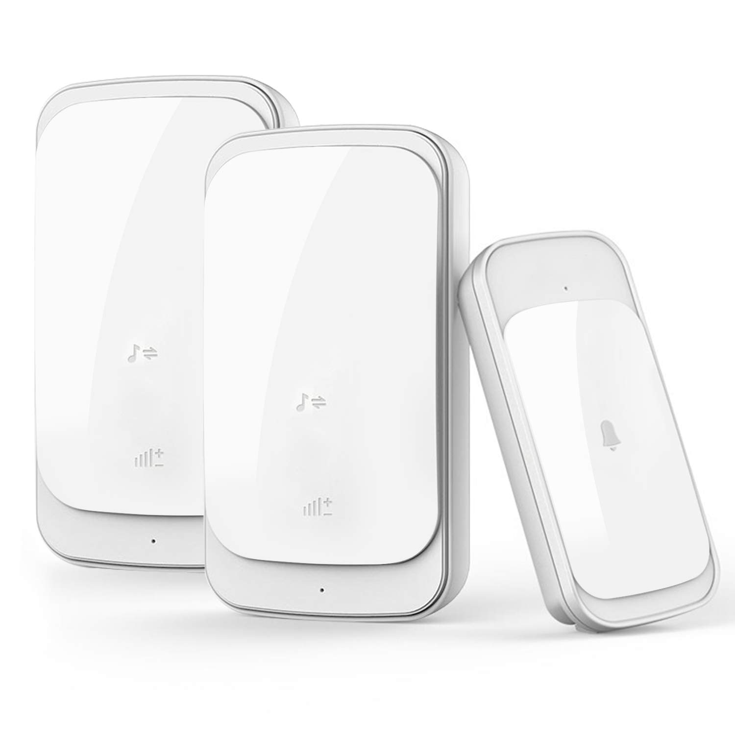 Wireless Doorbell Kit with 2 Plug-in Receivers Wireless Door Chime IP44 Waterpoof Operating at Over 1000 Feet/300M with 58 Melodies, 4 Volume Levels & LED Indicators (White)