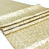 ACRABROS Sequin Table Runners Gold- 12 108 Inch Glitter Table Runner- Event Party Supplies Fabric Decorations Wedding Birthday Baby Shower