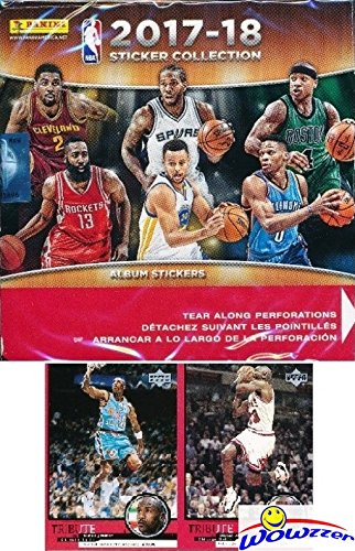 2017/18 Panini NBA Basketball MASSIVE Factory Sealed Sticker Box with 50 Packs & 350 Brand New MINT Stickers of all your Favorite NBA Stars! PLUS BONUS (2) VINTAGE Michael Jordan (Nba Mint)