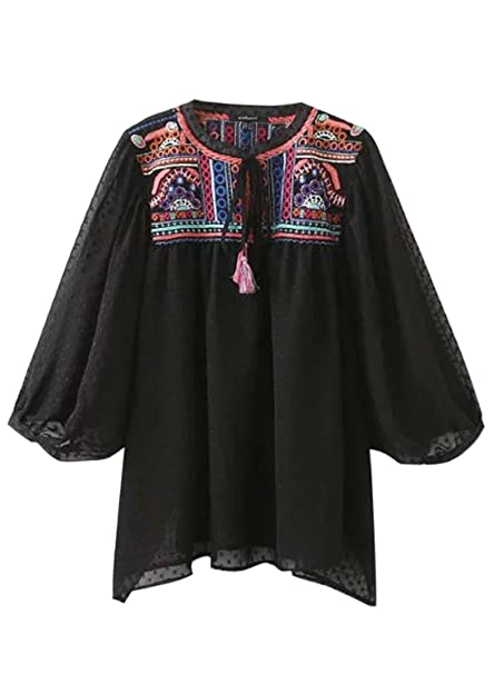 de las mujeres de la manga mujeres largas de la moda del bordado flojo de la