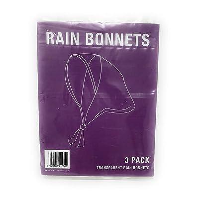 3 Claro Lluvia Bonnets - Capó plástico de Emergencia Gorro Protector Mujer: Equipaje