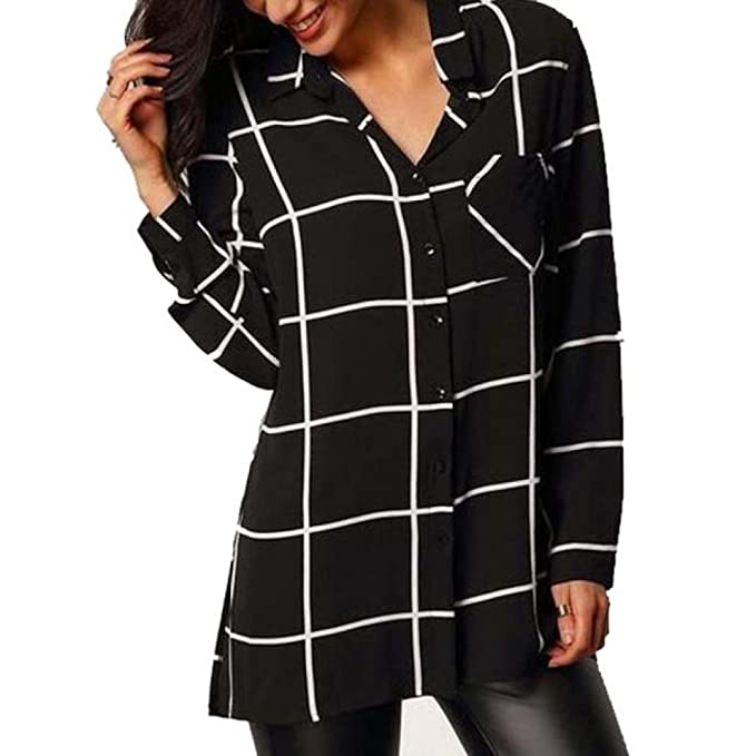 Siswong Blusa Botones Mujer Gasa de Cuadros Suelto Elegante Camisa Tops Negra de Solapa (S