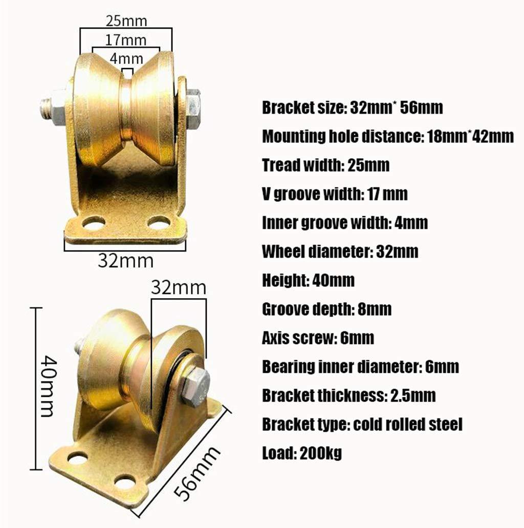 GONGFF Roue Pack 4 1,2 Pouce poulie de Type V rainure de roulement rainure de Porte coulissante Angle de Fer Petite poulie de Guidage Fixe