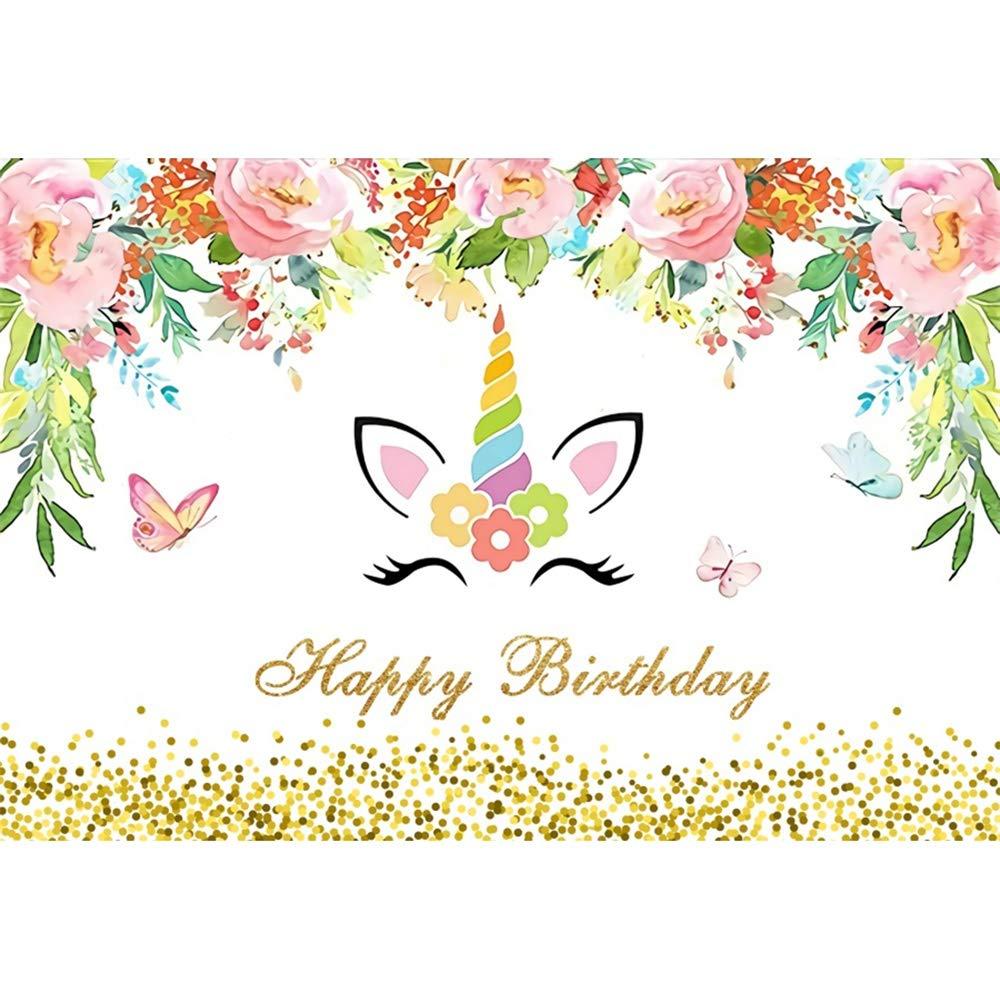 Amazon.com : Renaiss 12x10ft Happy Birthday Backdrop Golden ...