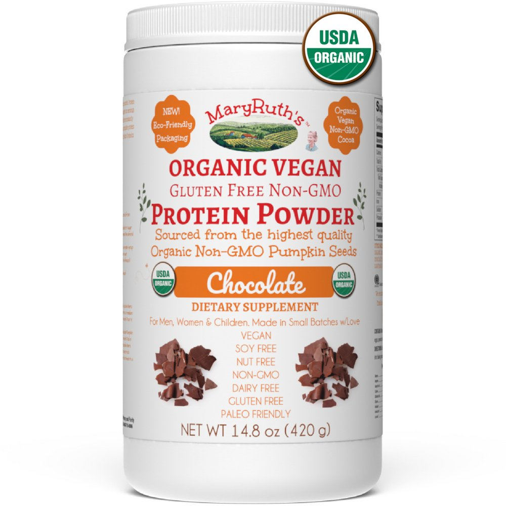 ORGANIC PROTEIN POWDER Plant-Based (Fair Trade Creamy Chocolate Fudge) by MARYRUTH Vegan, Gluten Free, Non-GMO, Soy Free, Dairy Free, Nut Free, No Fillers, No Additives, Paleo Friendly 14.8 oz