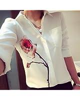 NINGNETI Las mujeres de manga larga blusa de flor de rosa Camisas de cuello de gasa de vuelta abajo
