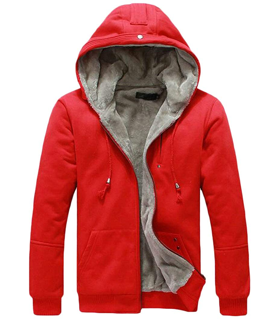 BYWX Men Zip Up Faux Fur Lined Thick Fleece Hoodie Cardigan Coats