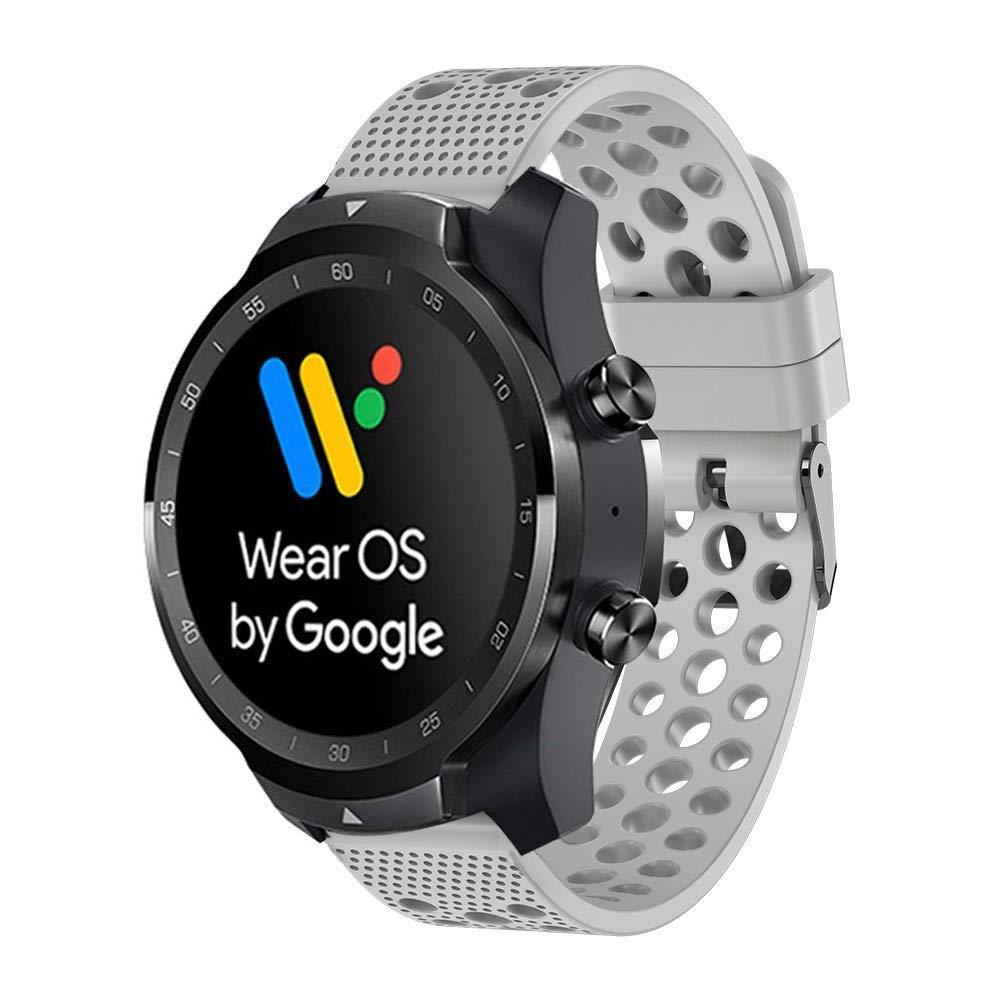 Ceston Clásico Deporte Silicona Correas para Smartwatch TicWatch Pro (Gris)