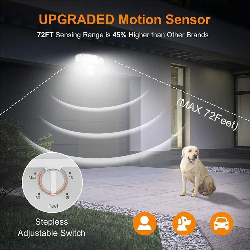 LEPOWER 35W LED Security Lights Motion Sensor Light Outdoor, 3500LM Motion Security Light, 5500K, IP65 Waterproof, 3 Head Motion Detected Flood Light for Garage, Yard, Entryways (NOT Solar Powered) - -