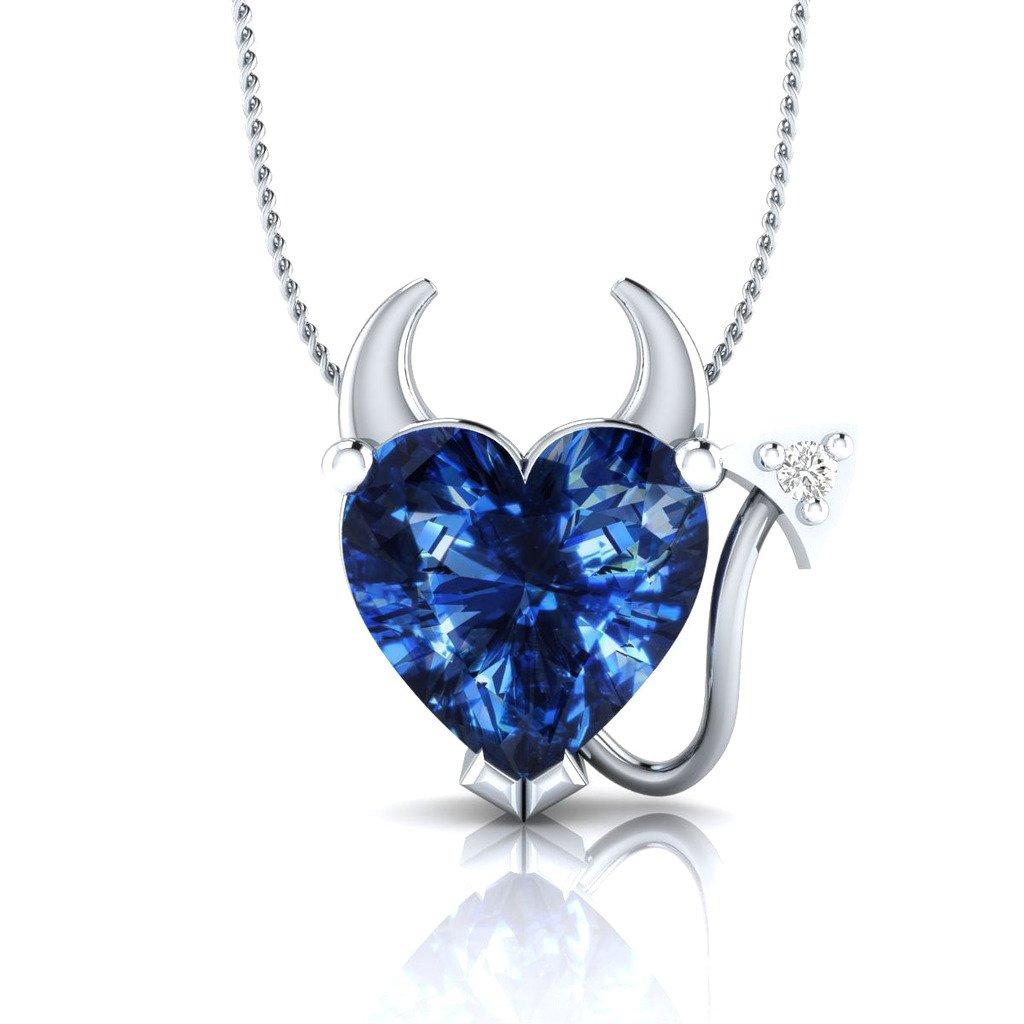 Dividiamonds 14K White Gold Fn Heart Shape Blue Sapphire Devil Heart Pendant Necklace with 18 Chain