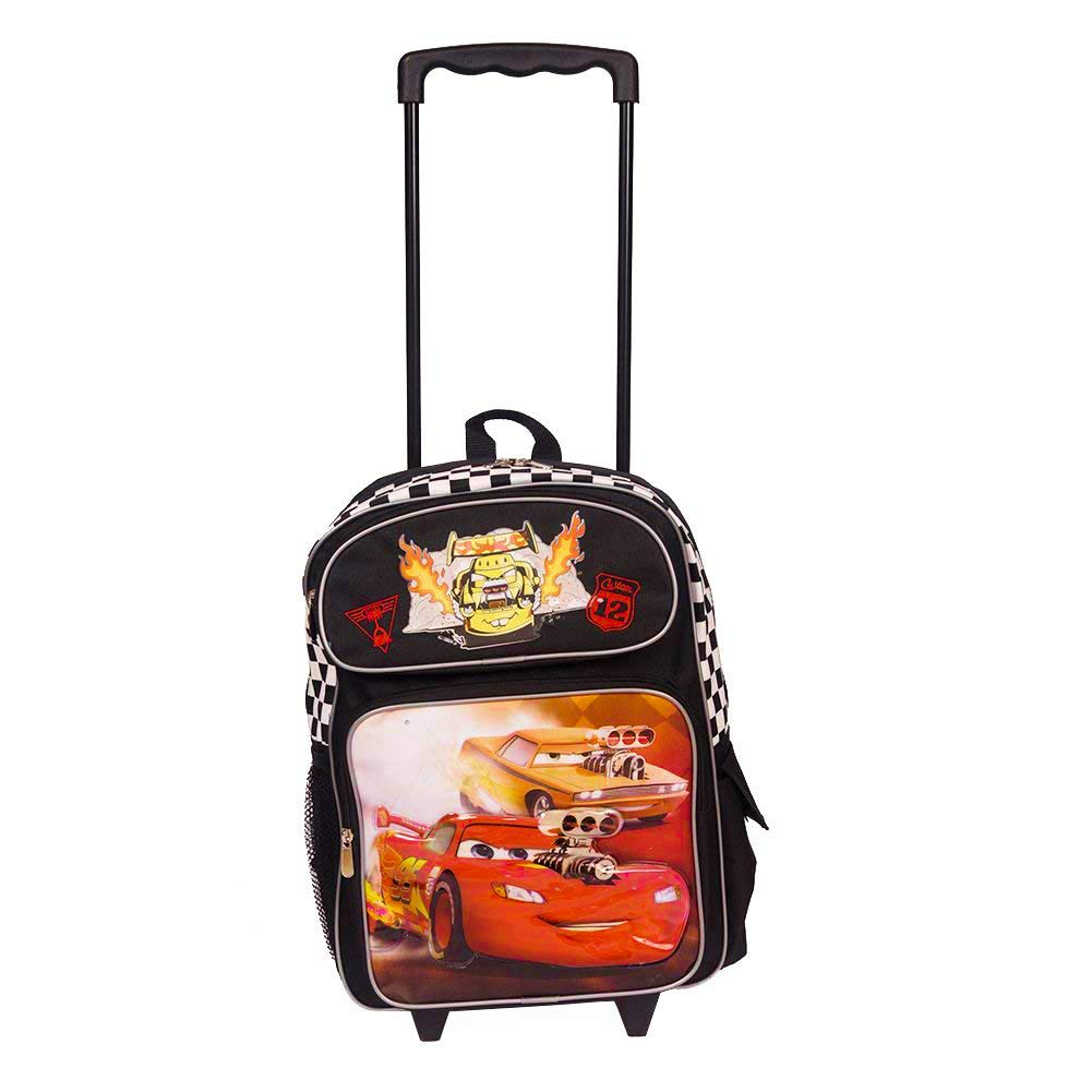 Disney Cars 16 Inch Wheeled Backpack for Kids - Rolling School Bags for Boys [Black]