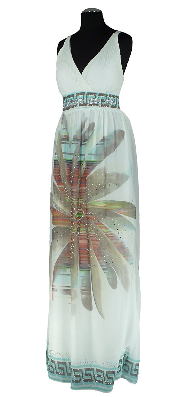 AZ1311 - Samtlebe® - Chiffon Abendkleid lang mit Strassbesatz in Floraldruck Gr. 34/38 (one size) in Weiß