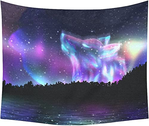 INTERESTPRINT Cool Galaxy Wolf Home Decor Tapestries Wall Art, Wolf Forest Tapestry Wall Hanging Art Sets 60 X 51 Inches