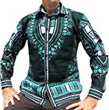 RaanPahMuang Brand Africa Dashiki Boubou Bright Fashion Work Shirt Light Cotton, X-Large, Phthalo Green