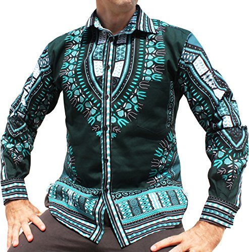 Raan Pah Muang RaanPahMuang Brand Africa Dashiki BouBou Bright Fashion Work Shirt Light Cotton, Medium, Phthalo Green by RaanPahMuang