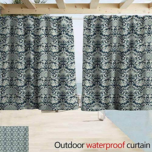 (Lcxzjgk Vintage Outdoor Curtains Victorian Baroque Foliage Leaves Pattern with Ornamental Swirls Perfect for Your Patio, Porch, Gazebo, or Pergola W63 xL45 Dark Blue Pale Sage Green)