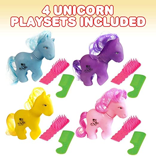 Brushing Pony Brush and Comb Set ArtCreativity Lovely Pony 3-Piece Playset Little Pony Unicorn Birthday Party Favors for Kids Cute Assorted Colors Rubber Bath Toys Pack of 4