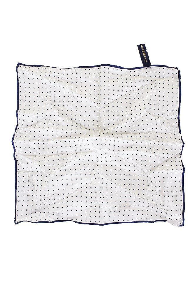 Club Room Mens 100% Silk 14 Inch Pocket Square White Navy Polka Dot
