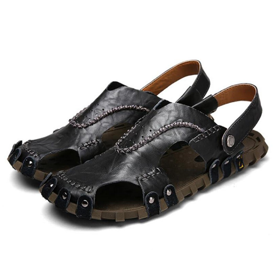 GAOLIXIA Sandalias huecas de cuero para hombres Zapatos de playa de verano Ocio deportivo Zapatillas respirables de doble uso (Color : Negro, tamaño : 43) 43|Negro
