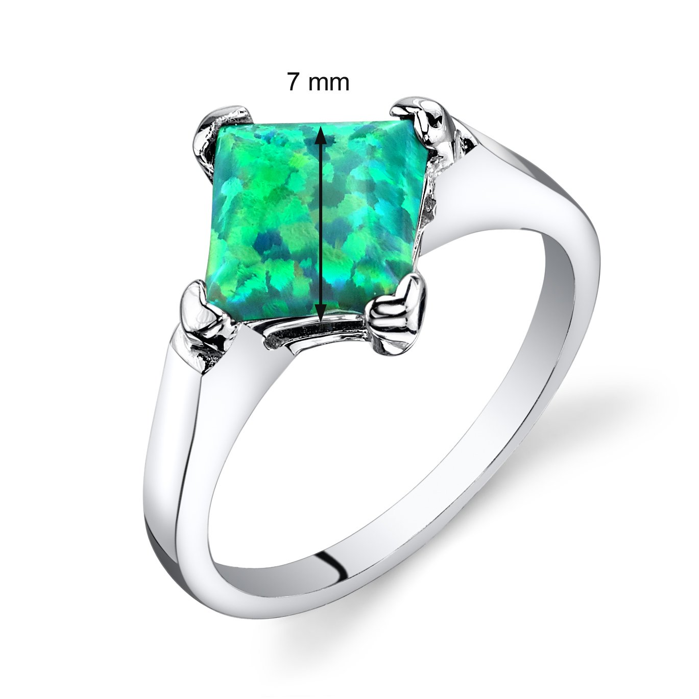 Created Green Opal Princess Cut Solitaire Ring Sterling Silver 1.00 Carat Sizes 5 to 9
