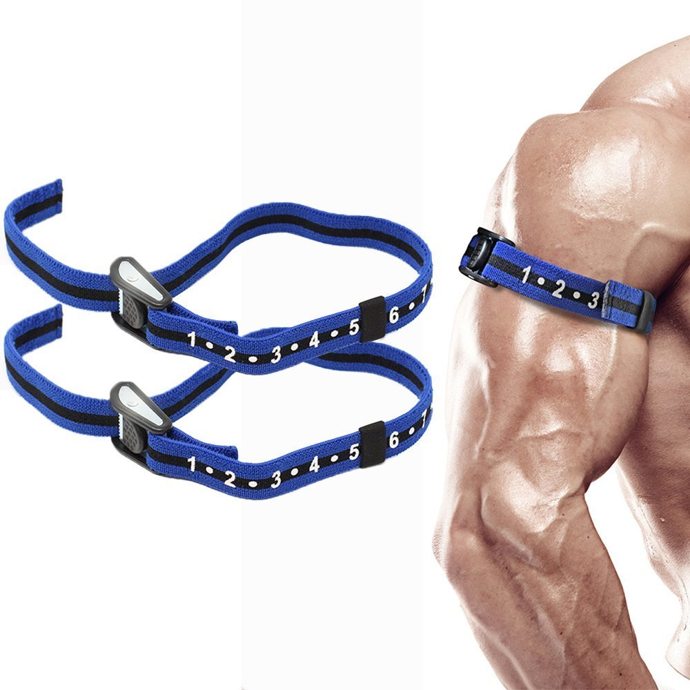 Occlusion Training Bands by BFR Bands PRO SLIM Model, 2 Pack, Blood Flow Restriction Bands with 1'' Width - Comfort Wrapped Metal Buckle, Extra Thick Elastic, Multiple Patents Pending