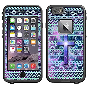 Skin Decal for LifeProof Apple iPhone 6 Case - Cross on Aztec Andes Green Turquoise Tribal Nebula